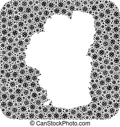 Covid-2019 virus map of Tahoe Lake collage designed with rounded square and carved shape. Vector map of Tahoe Lake collage of covid-2019 ojects in various sizes and grey color tones.