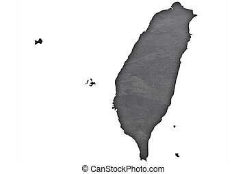 Map of Taiwan on dark slate