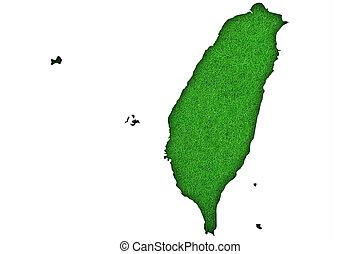 Map of Taiwan on green felt
