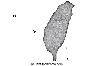 Map of Taiwan on weathered concrete