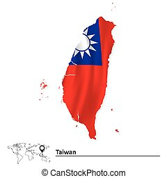 Map of Taiwan with flag