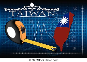 Map of Taiwan with ruler, vector.