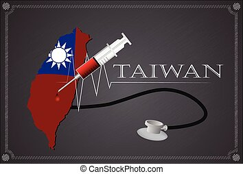 Map of Taiwan with Stethoscope and syringe.