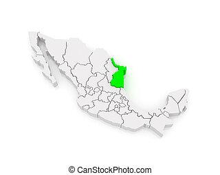 Map of Tamaulipas. Mexico.