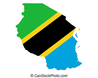 map of Tanzania and Tanzanian flag illustration