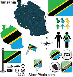 Map of Tanzania - Vector of Tanzania set with detailed...