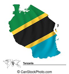 Map of Tanzania with flag