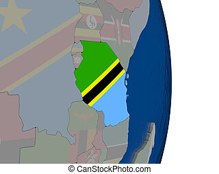 Tanzania with its flag