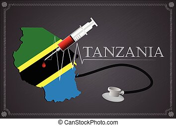 Map of Tanzania with Stethoscope and syringe.