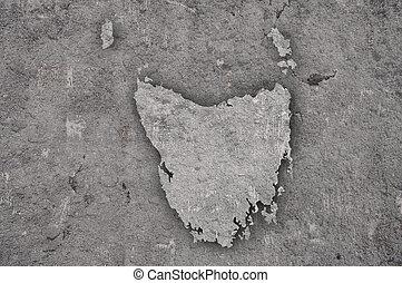 Map of Tasmania on weathered concrete
