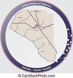 Map of Taylor County in Florida - Large and detailed map of ...
