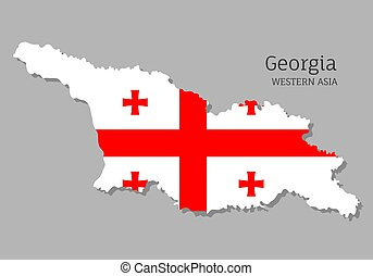 Map of Tbilisi with national flag. Highly detailed editable map of Tbilisi, Western Asia country territory borders. Political or geographical design element vector illustration