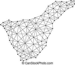 Map of Tenerife from polygonal black lines and dots of vector illustration