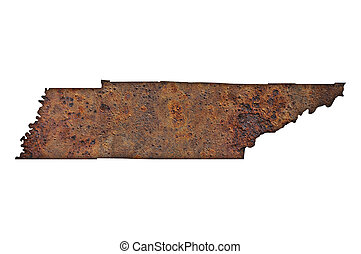 Map of Tennessee on rusty metal