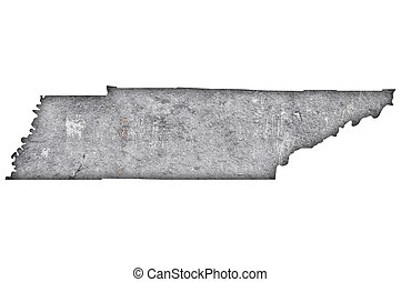 Map of Tennessee on weathered concrete