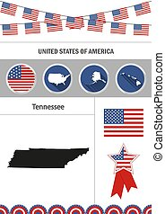 Map of Tennessee. Set of flat design icons nfographics elements