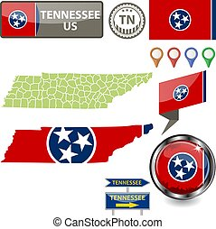 Map of Tennessee, US