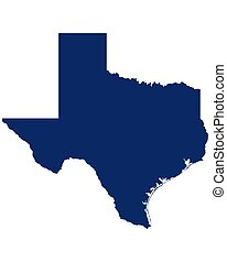 Map of Texas in blue colour