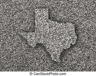 Map of Texas on poppy seeds
