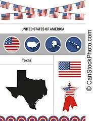Map of Texas. Set of flat design icons nfographics elements with