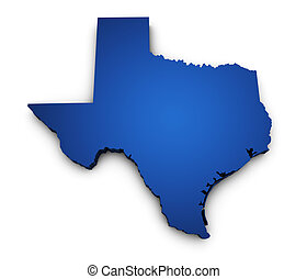 Shape 3d of Texas state map colored in blue and isolated on white background.