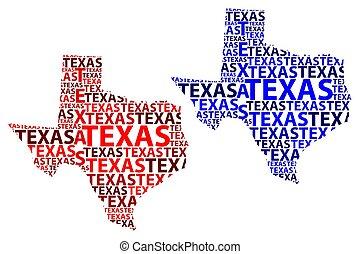 Map of Texas - vector illustration