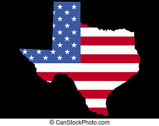 Map of Texas with flag
