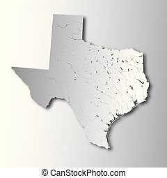 Map of Texas with lakes and rivers.