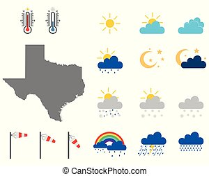 Map of Texas with weather symbols