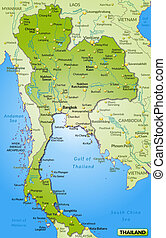 Map of Thailand as an overview map in green
