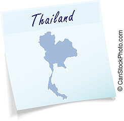 Map of Thailand as sticky note