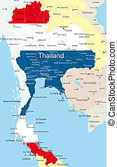 Thailand  - map of Thailand country colored by national flag