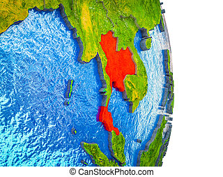 Map of Thailand on 3D Earth