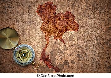 map of thailand on a old vintage crack paper