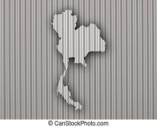 Map of Thailand on corrugated iron