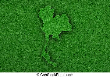 Map of Thailand on green felt