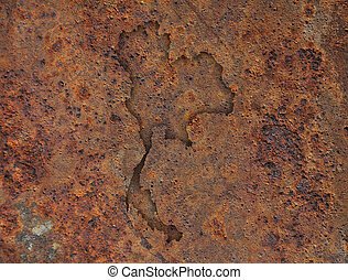 Map of Thailand on rusty metal