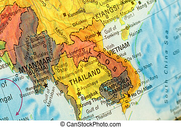Vintage Map Thailand ,Vietnam, Laos . Close-up macro image of South East Asia map . Selective focus