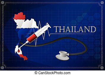 Map of Thailand with Stethoscope and syringe.