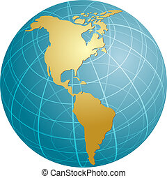 Map of the Americas on globe illustration - Map of the ...
