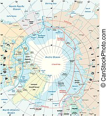 Map of the Arctic region, the northwest passage and the...