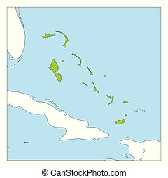 Map of The Bahamas green highlighted with neighbor countries