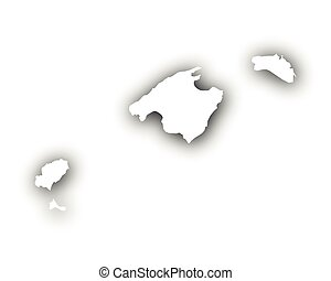 Map of the Balearic Islands with shadow