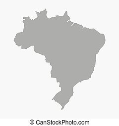 Map of the Brazil in gray on a white background