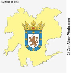 Map of the Chilean capital Santiago with coat of arms