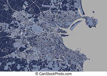 Map of the city of Dublin, Ireland
