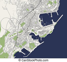 map of the city of Monaco, French Riviera
