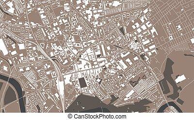 vector map of the city of Preston, Lancashire, North West England, England, UK