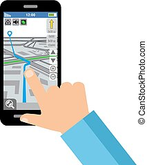 Map of the city on the smartphone screen
