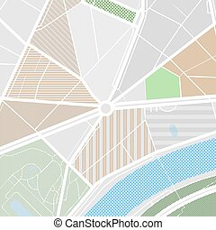 Map of the city with streets, parks and pond. Flat design abstract vector illustration.